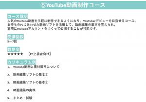 ⑤YouTube動画制作コース